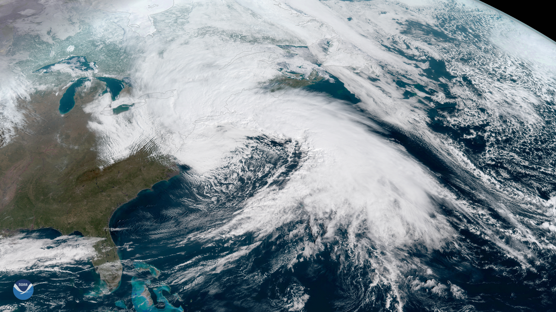 Powerful March Nor'easter seen by GOES East