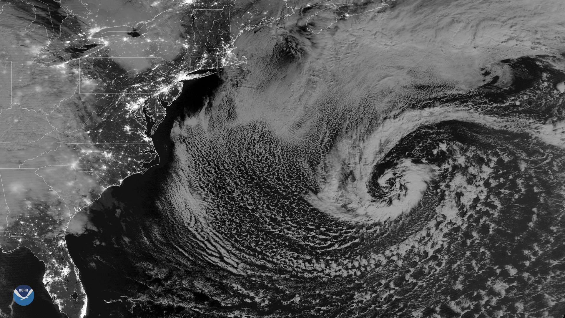 Nighttime View of Another Storm off the U.S. East Coast