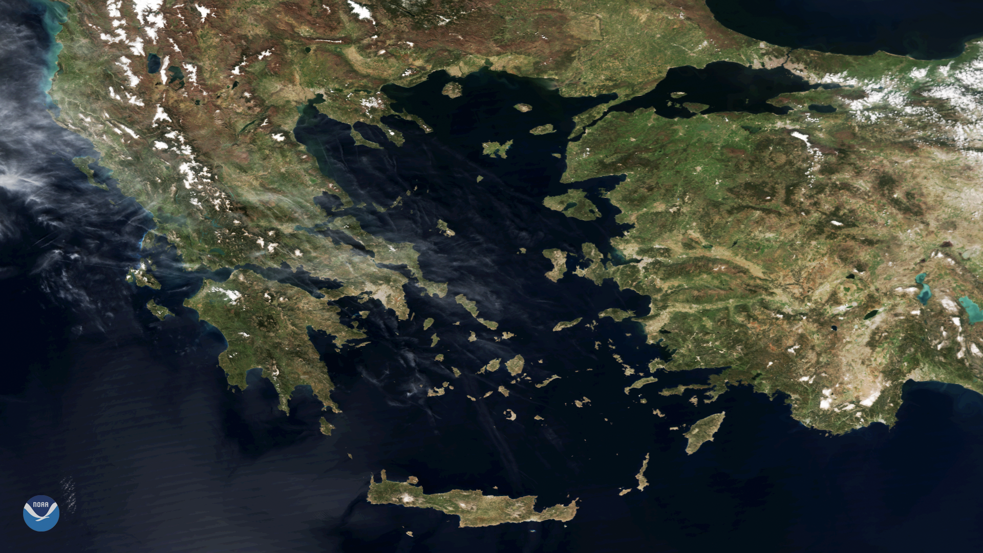Clear Skies Over Greece and the Aegean Sea