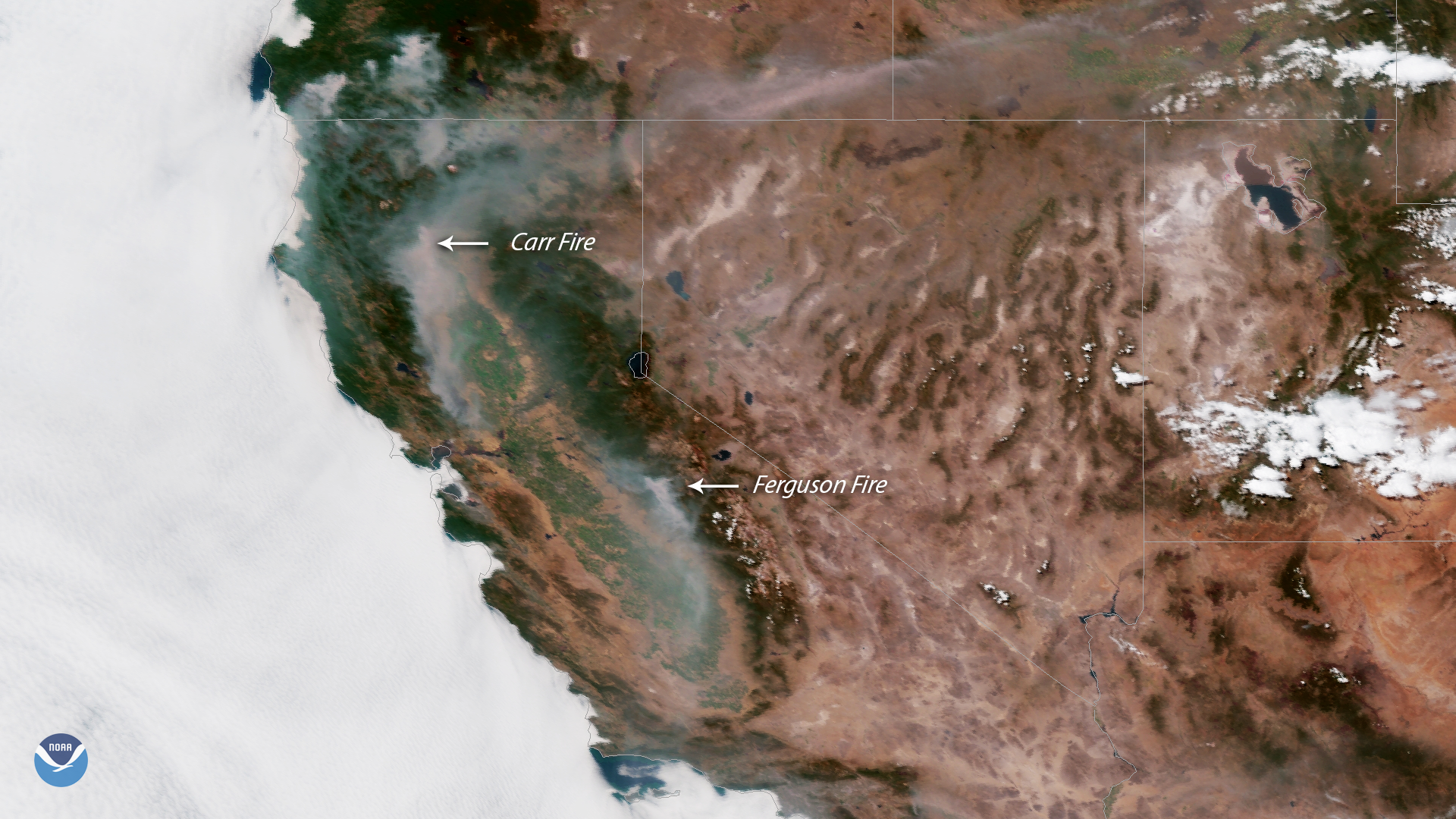 The Carr and Ferguson Fires Spread Smoke Across California