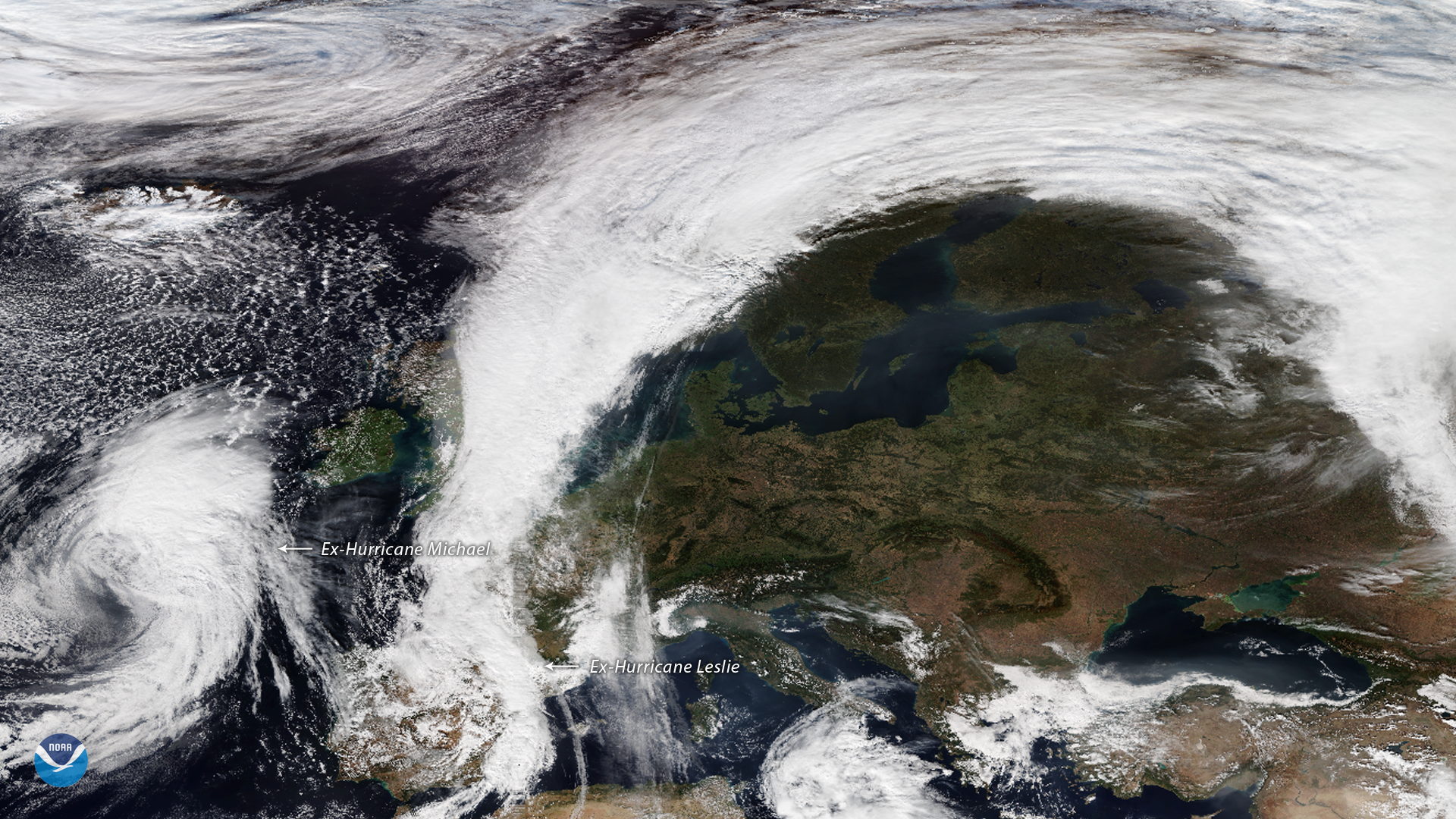 Remnants of Hurricanes Michael and Leslie Reach Europe
