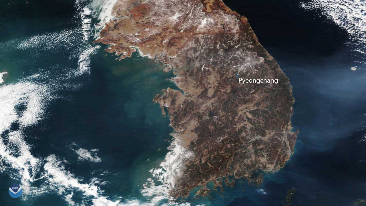 Suomi NPP satellite sees South Korea before the 2018 Winter Olympics