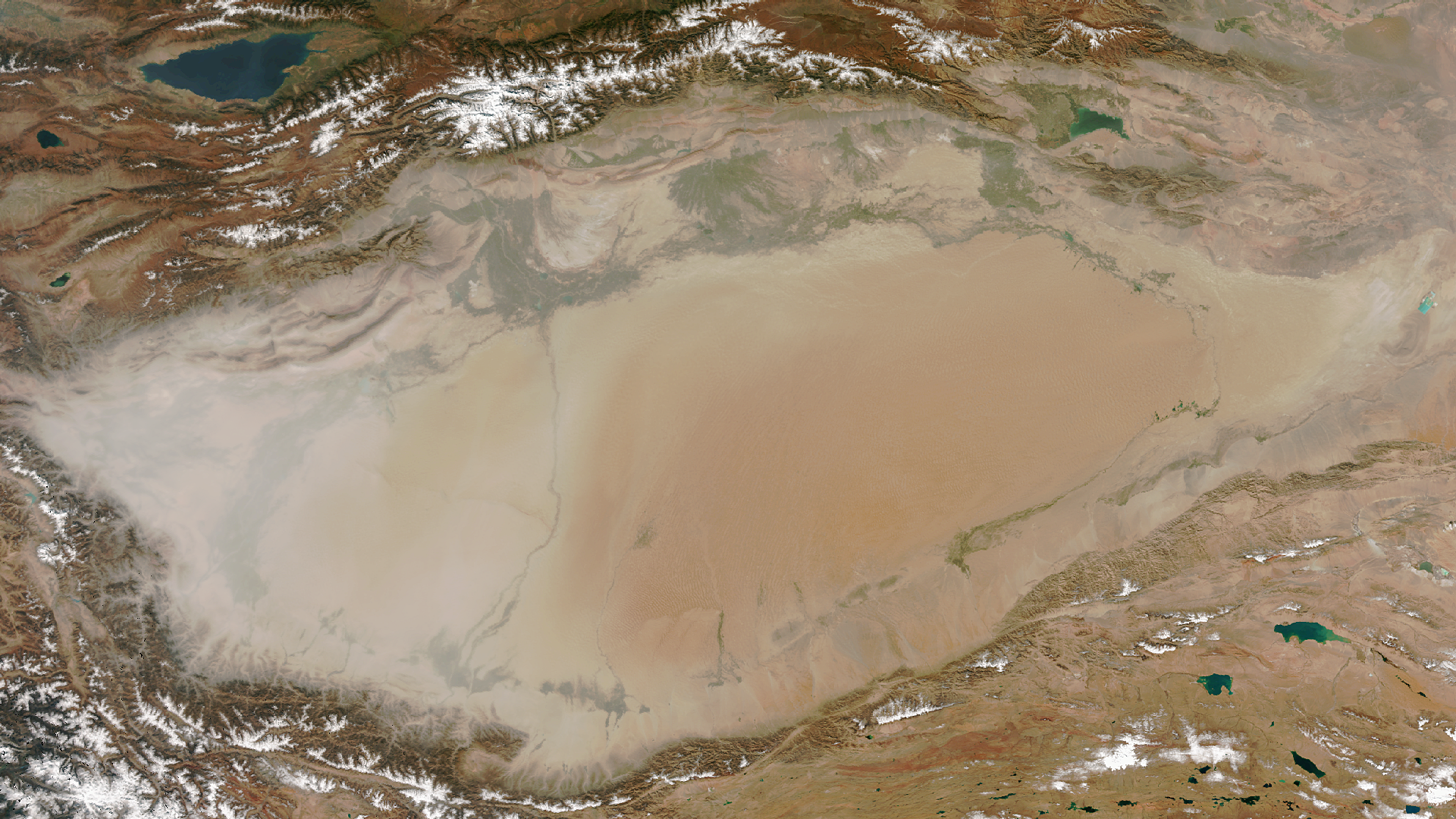Dust Swirls in the Taklamakan Desert