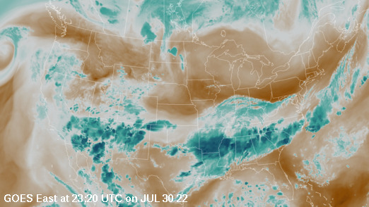 GOES East colorized water vapor imagery over the continental United States
