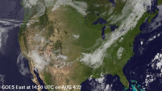 Combined GOES East visible and infrared imagery over the continental United States
